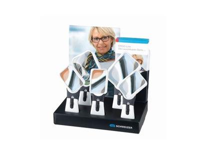 Image de Présentoir en carton de 5 loupes Schweizer ERGO-Lux MP MOBIL 4500K spécial droitiers et gauchers